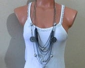 Multistrands chain necklace, galaxy layered necklace, ball and planed long necklace