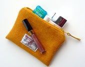 Yellow Makeup bag , Harris Tweed , cosmetic pouch , small wool pouch