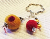 Felt, Lampwork beads, Keys, Scissors, Zipper Pull, Fob, Silver Hill Tribe beads, Valentines Day, Key Ring, felt beads, yellow, red