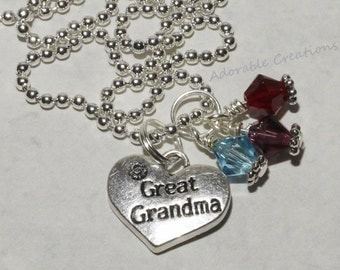 Great Grandma Heart Charm Necklace With Swarovski Crystals On Silver Ball Chain - U Pick Birthstone Colors
