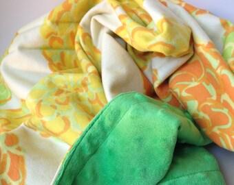 Yellow Dahlia Flannel Cuddly Baby Blanket. Gender Neutral Baby Blanket