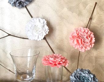 9 Pieces Set. 4.2inch Romantic White Coral Grey Peonies Flowers Decor. Rustic Wedding Table Floral Decor. Bridal Shower Decoration