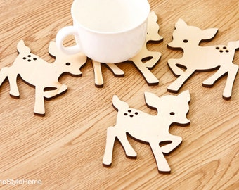 4 pieces Set. Little Beige Deer Wood Coasters Set. Cute Forest Animals Coasters. MADE-TO-ORDER. Housewarming Gift