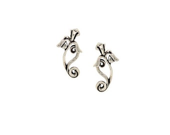 Silver Iris Post Earrings