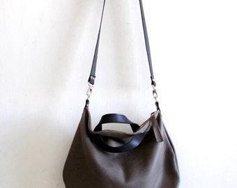 Gray leather bag  Handbag - Cross-body bag