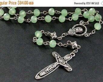 HALLOWEEN SALE Holy Rosary. Sea Green Crystal Rosary in Silver. Catholic Rosary. Aqua Rosary. Handmade Rosary.