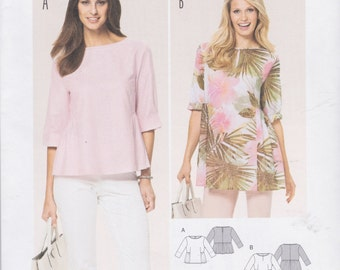 Burda Style Pattern 6761 Easy Pullover Tops Have Straight Front Bodice With Gathered Sides and Back, Roll Up Sleeves Misses' Sizes 10 - 22