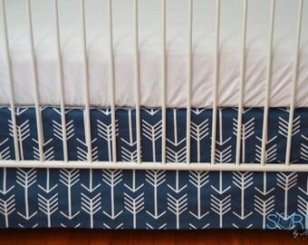 Ships Fast- Flat Crib Skirt in Navy Arrow Fabric