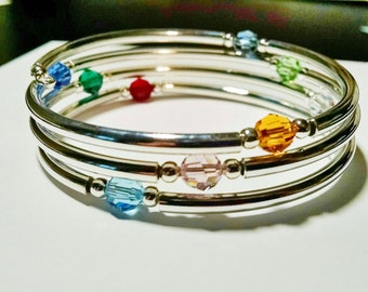Birthstone Mother's Bracelet, Crystal and Silver Bangle Bracelet, Swarovski Crystals