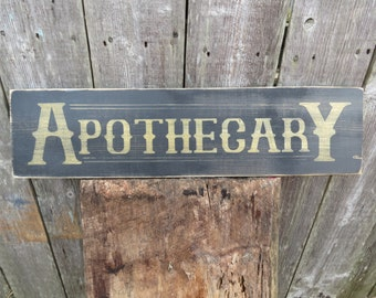 """Apothecary Sign Hand Painted  wood sign custom colors Primitive Kitchen Nostalgia 2ft x 5 1/2"""" Antique  Vintage Look Pharmacy"""