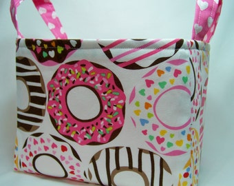 PK Fabric Basket in Doughnut Love in White - Ready To Ship - Washable - Reversible