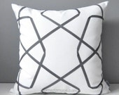 "Custom for Melinda - Pair of 24""x24"" Geometric Pillow Covers, Grey & White Outdoor Pillow Cover, Sunbrella Lattice Cushion Cover, Mazizmuse"