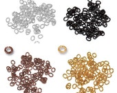 TierraCast Small Oval Open Jump Rings - 20 gauge  - 2 x 3mm ID - plated brass - choose from - antique copper, black, gold or silver