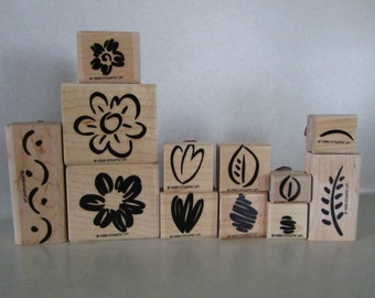Stampin' Up Fanciful Flowers retired wood mount stamp set