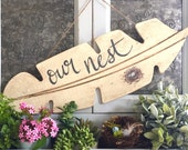 Our Nest Feather Wood Sign with Nest Hand Painted Farmhouse Wall Decor