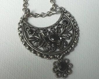 Unique pendant - Re-purposed found earring necklace