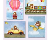 Art for girls room, Girls in Hot air balloon, girl in airplane,girl in train, girl driving a car, Nursery decor, art prints posters set kids