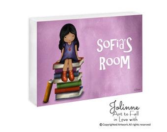 African American girl books Personalized door sign for girls room dark skin girl Door sign with kids name custom name sign teachers sign