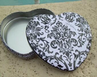 Black and white heart shaped Brighton tin box