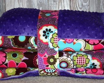 Kinder Nap Mat Cover - Whimsy Floral with Purple Minky - Ready To Ship