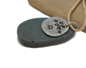 Leland Blue Up North Pendant Pewter Hand Stamped charm beach stone up north Lake Michigan beach jewelry stone charm Michigan slag glass