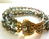 Gorgeous three strands Art Glass Venetian faceted AB beads  bracelet - 1950s vintage Italy lovely clear chaton clasp - Art.19/4 -