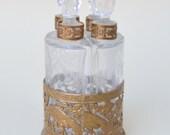 Antique French Ormolu Perfume Casket . 4 Etched Crystal Bottles . Peacock Design