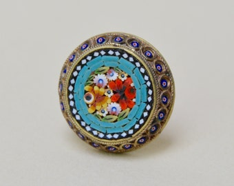 Vintage Mosaic Glass Pin . Italy . Brooch . Unique Design . Flowers . Tiny Glass