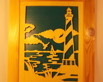 CAPE HATTERAS  LIGHT House Hand Made Framed Scroll Saw Picture