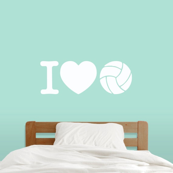I Love Volleyball - Sports Wall Decals