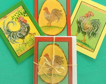 TROPICAL FRENCH ROOSTER Greeting Card, Set of 3 Different Cards, Designed by Susana Caban, Blank Note Cards, Farm House Decor and Gift