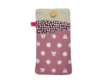 Cat iPhone 6S Case, Fabric iPhone Case, iPod 6G, iPhone 5S, iPhone 6S Plus Case, iPhone 6 Sleeve, iPhone 6 Plus Cover, iPhone SE