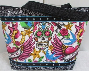 Tattoo Sugar Skull Large Tote Bag Multi Colored Skull Purse Lucky Heart Shoulder Bag Ready To Ship