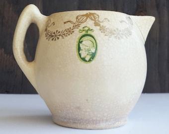 Chippy Creamer Vase, Roseville Medallion Creamware, Circa 1916, Greek or Roman Medallions, Boudior or Guest Room Decor