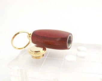 Secret Compartment Key Chain, Pill Holder in Rosewood