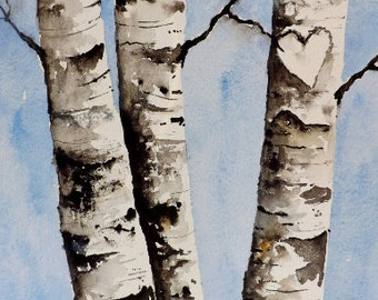 Custom Initial Birch Tree Painting, Birch Tree Art.
