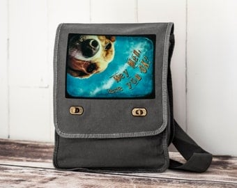 Hey Man, are you OK? - Field Bag - School Bag - Smoke Gray - Canvas Bag