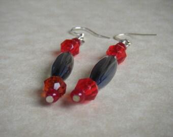 Bead Earrings, Grey Bead, Red Beads, Dangle Earring, .925, Sterling Silver, Silver Earring Hook
