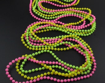 Pink Necklace, Plastic Bead Necklace, Neon Necklace, Long Necklace, Flapper Necklace, Colorful Necklace, Multi Strand Necklace