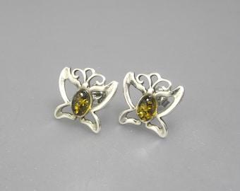 Sterling Silver Butterfly Earrings, Amber Earrings, Insect Earrings, Sterling Earrings
