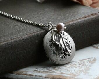 Round locket necklace, silver locket necklace, feather, long locket necklace, picture locket, perfume locket,  silver lockets - Milly