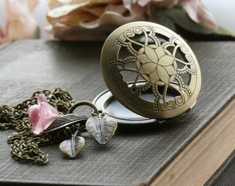 Round Locket Necklace, Filigree, Pink, Leaf, Photo Lockets, Vintage Style Picture Lockets - Rose Petal