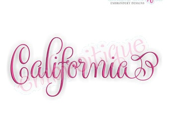 California Fancy Calligraphy Script 3- Instant Download Machine embroidery design
