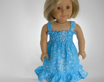 18 inch doll clothes made to fit dolls such as American Girll® , Turquoise Blue Sundress, 05-1094
