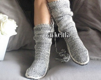 Handknitt Slippers, Leg Warmers, Grey Slippers,Winter Slippers, Knit Slippers, Womens Slippers