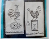 Vintage Bucilla Needlework Kit Pair of Union Linen Kitchen Tea Towels Chicken & Rooster Embroidery Kit