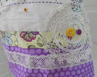 Full length apron, new and vintage trims,  women's floral apron