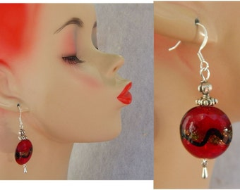 Red & Black Glass Charm Drop/Dangle Earrings Handmade Jewelry Hook Fashion Silver