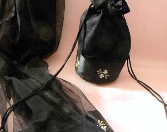 Marshall Field's Woman's Cejon Draw String Black Handbag Purse and Sheer Exra Long Scarf