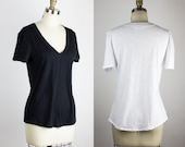 Relaxed fit Vneck tee / Organic cotton & Bamboo comfy t-shirt / White - Black